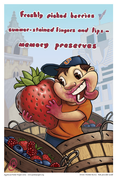Syracuse Art Poster: Strawberry picking in Syracuse