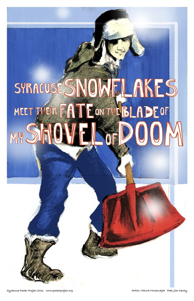 Syracuse Art Poster: Shoveling snow in Syracuse