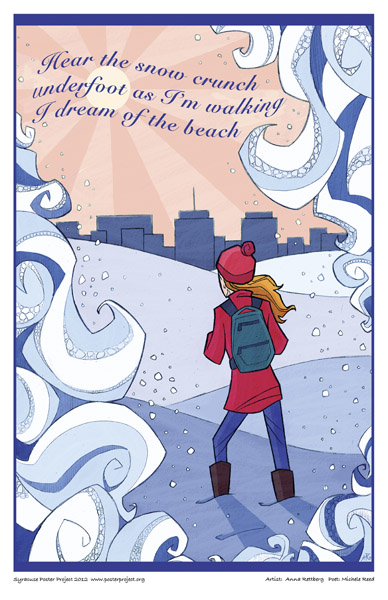 Syracuse Art Poster: Winter woman dreaming of beach