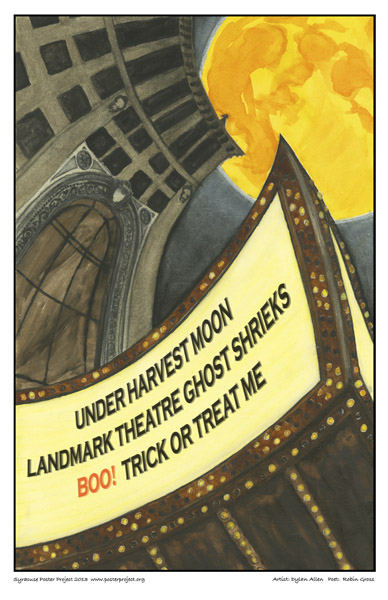 Syracuse Art Poster: Landmark Theater in Syracuse at Halloween