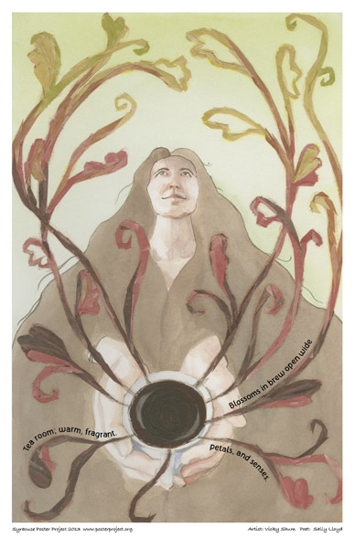 Syracuse Art Poster: Tea house woman holding teacup
