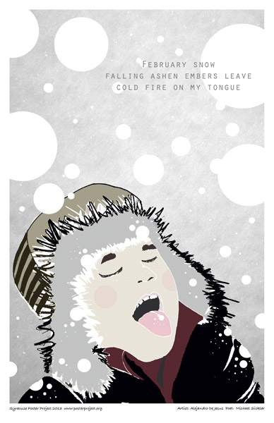 Syracuse Art Poster: Boy catching snowflakes on tongue