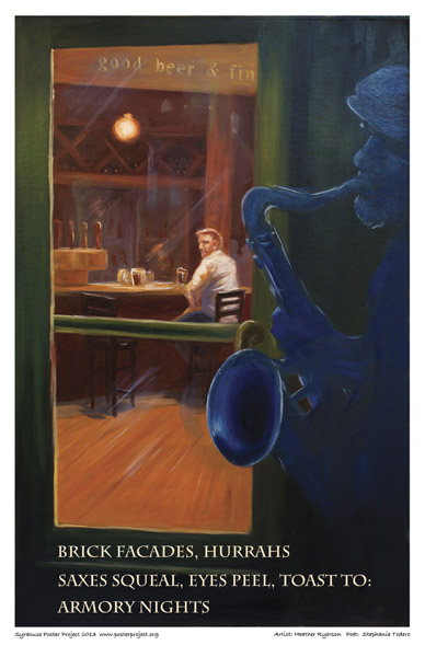 Syracuse Art Poster: Sax player in Armory Square in Syracuse