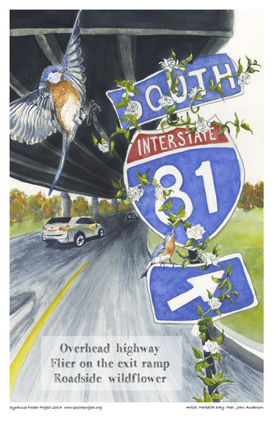 Syracuse Art Poster: Overhead highway and bird and flowers