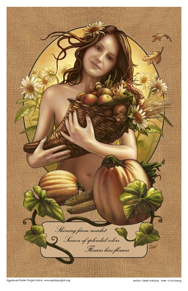 Syracuse Art Poster: Woman holding cornucopia from farmers market