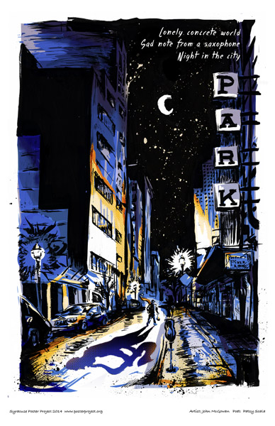 Syracuse Art Poster: Syracuse at night with lone sax player