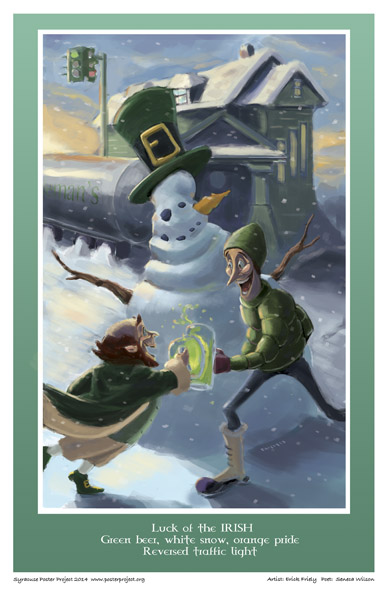 Syracuse Art Poster: Colemans Pub on Tipp Hill with leprechauns and snowman