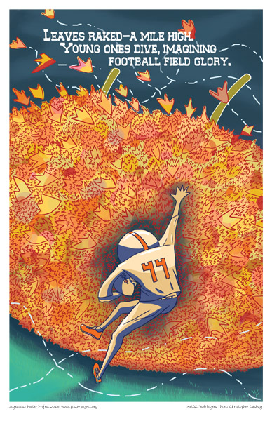 Syracuse Art Poster: Football and leaves in autumn