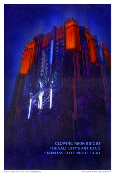 Art Poster, Syracuse, NiMo Building, Niagara Mohawk, Art Deco