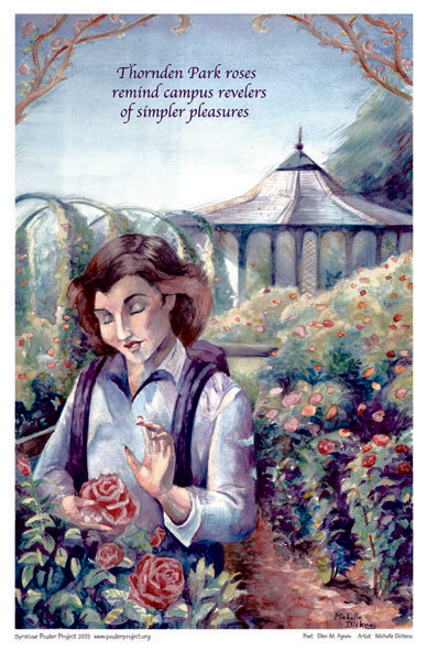 Art Poster, Syracuse, Thornden Park, Garden, Roses, Campus
