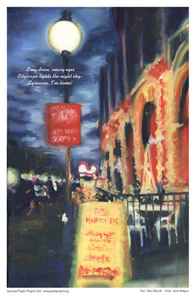 Art Poster, Syracuse, Night, Cafe, City Lights