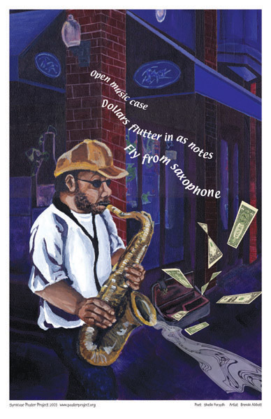 Art Poster, Syracuse, Saxophone Player, Downtown