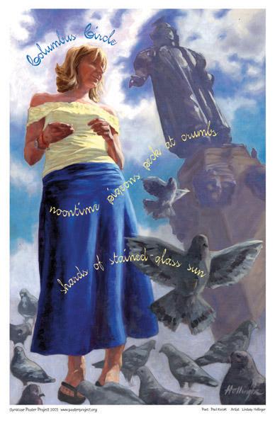 Art Poster, Syracuse, Columbus Circle, Downtown, Pigeons
