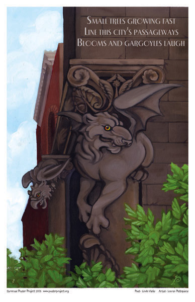 Art Poster, Syracuse, Gargoyles, Downtown