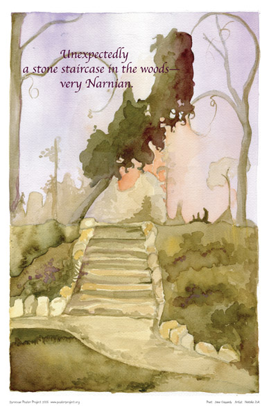 Art Poster, Syracuse, Stone Staircase, Woods