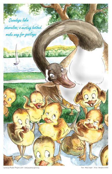 Art Poster, Syracuse, Onondaga Lake, Goose, Goslings