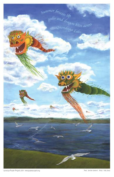 Art Poster, Syracuse, Onondaga Lake, Kites, Birds