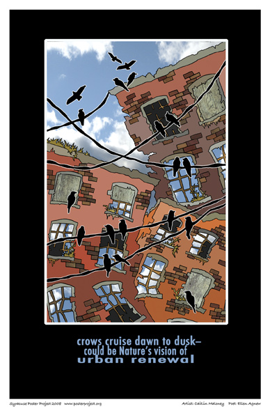 Crows, Urban Setting, Art Poster, Syracuse