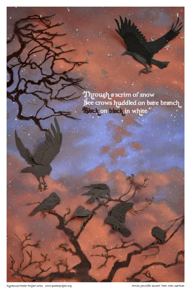 Art Poster, Syracuse, Crows in Winter, Sunset
