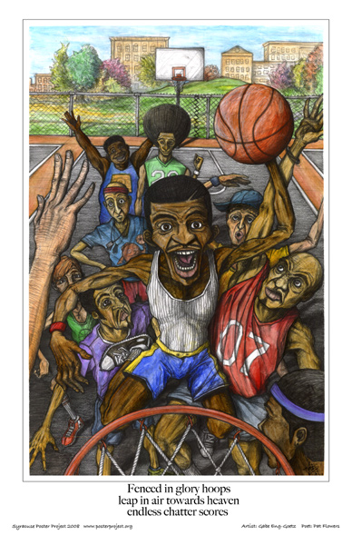 Neighborhood Basketball Scene, Art Poster, Syracuse