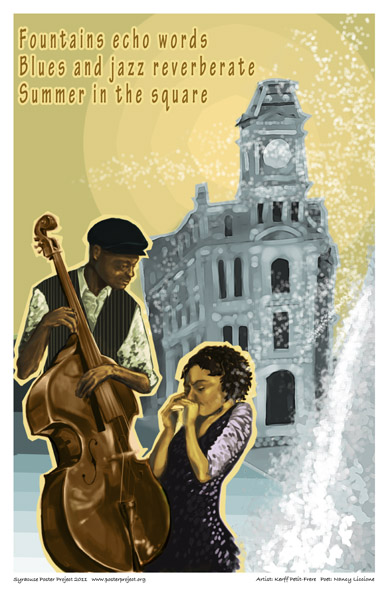 Art Poster, Syracuse, Clinton Square, Fountain, Blues and Jazz