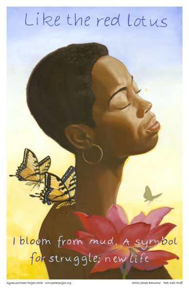African American Woman, Butterflies, Art Poster, Syracuse