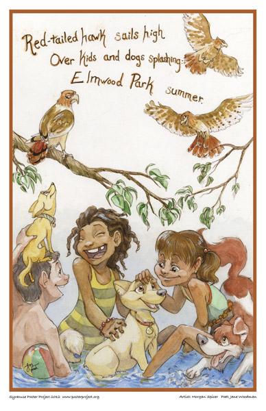 Hawk over children playing, Elmwood Park, Art Poster