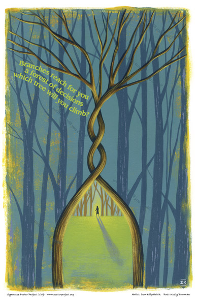 Art Poster, Syracuse, Archway, Forest,  Lone Figure