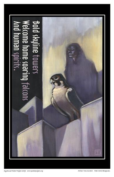 Art Poster, Syracuse, Peregrine Falcon, Skyscraper
