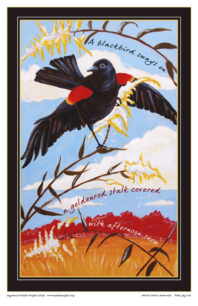 Art Poster, Syracuse, Blackbird, Goldenrod, Snow