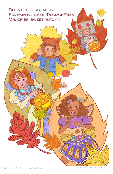 Poster, Syracuse Art, Autumn, Pumpkin, Leaf