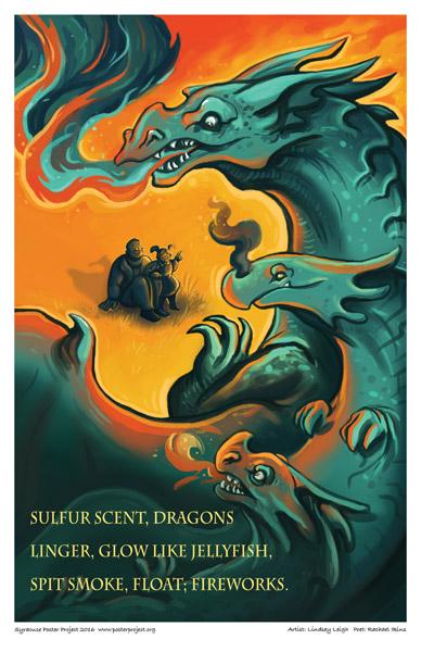 Poster, Syracuse Art, Dragon, Smoke, Firework