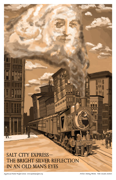 Poster, Syracuse Art, Old Man, Train