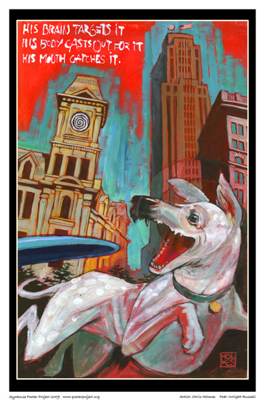 Art Poster, Syracuse, Dog, Frisbee, Clinton Square.