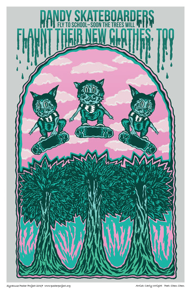 Poster, Syracuse Art, Radical Skateboarders and Trees