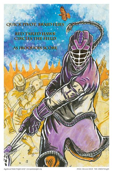 Poster, Syracuse Art, Iroquois Lacrosse Player, Hawk