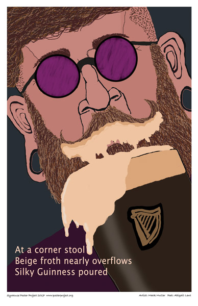 Poster, Syracuse Art, Bearded Man Drinking Guinness.