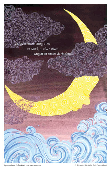 Poster, Syracuse Art, Crescent Moon and Clouds