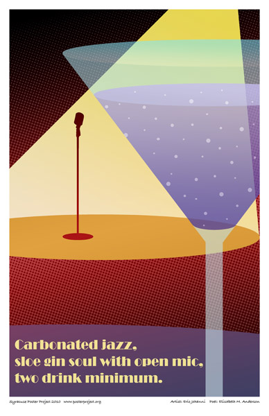 Art Poster, Syracuse, Open Mic, Jazz, Martini Glass