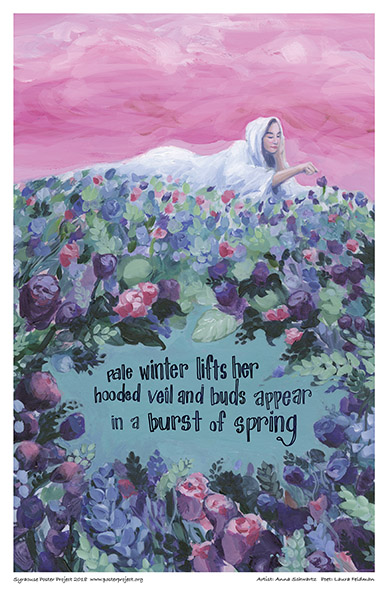 Poster, Syracuse Art, Woman on Bed of Flowers