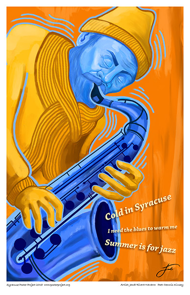 Poster, Syracuse Art, warm Jazz, blue