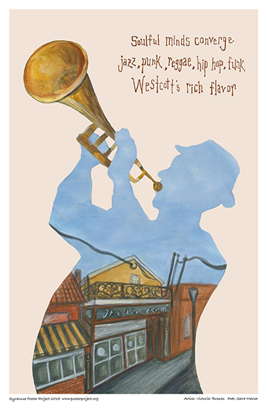 Poster, Syracuse Art, Trumpeter at Westcott Theater