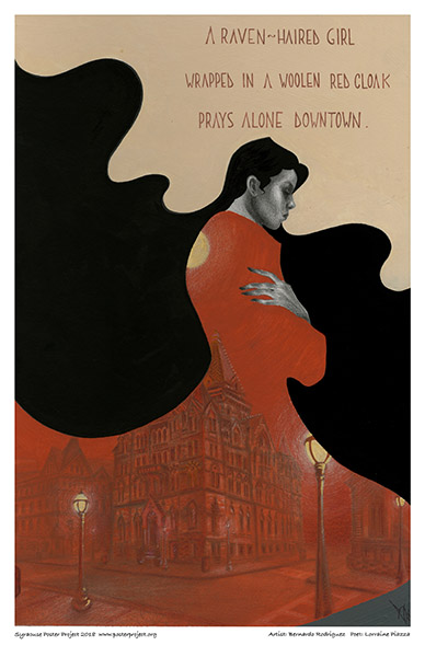 Poster, Syracuse Art, woolen red cloak, raven haired girl