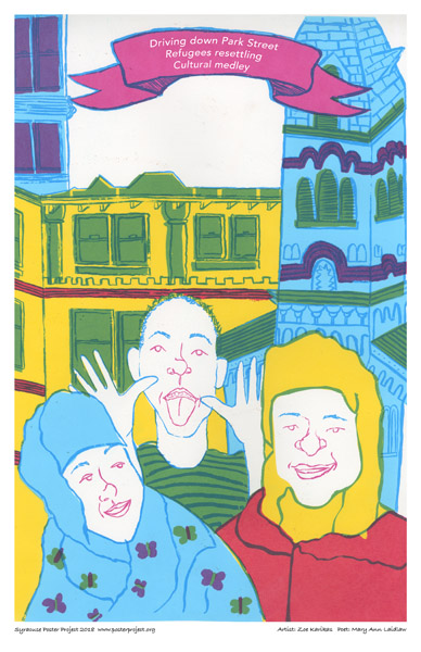 Syracuse Poster Art: Immigrants Waving