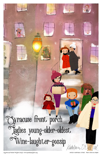 Poster, Syracuse Art, Women in Colorful Winter Coats on the Stair of Front Porch