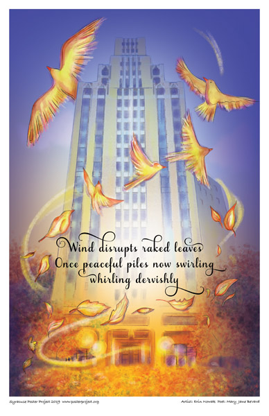 Poster, Syracuse Art, Wind Swirls, Leaves Blowing, and Birds Fly in Front of Tall Building