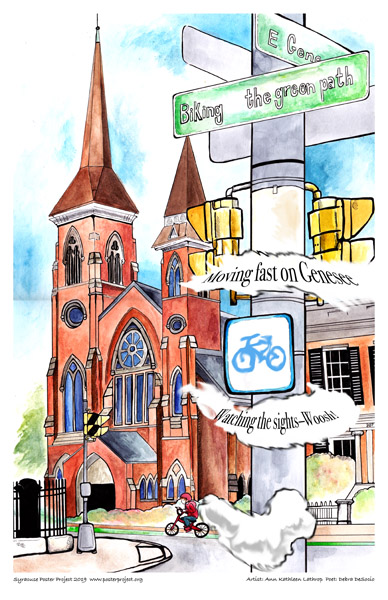 Poster, Syracuse Art, Riding a Bike in Front of a Church on Genesee Street