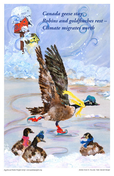 Poster, Syracuse Art, A Goose Ice Skating in an Outdoor Rink While Other Geese Watch