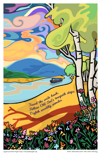 Poster, Syracuse Art, Small Yacht Sailing Down a Tree-Lined River