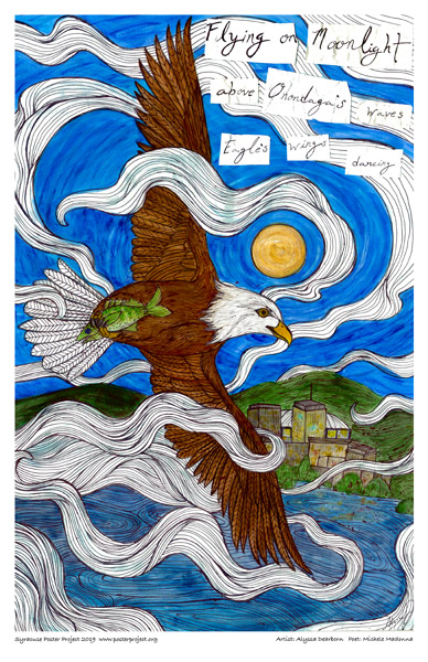 Poster, Syracuse Art, An eagle with a fish in it's claw flies above the lake and downtown